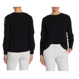 Rachel Roy Cable Sleeve Cold Shoulder Sweater